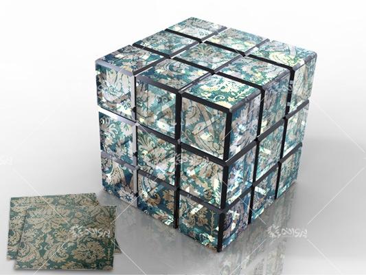 موکاپ مکعب روبیک شیشه ای برای فتوشاپ