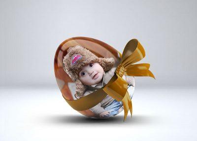 موکاپ درج تصویر روی تخم مرغ پاپیونی
