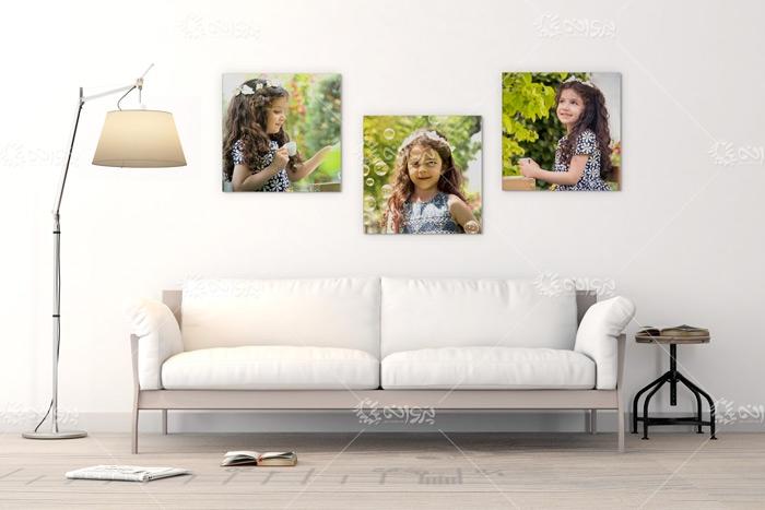 موکاپ عکس روی شاسی دیواری 3 تایی