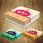 طرح جعبه شیرینی لایه باز دو رنگ یک کیلویی مربع